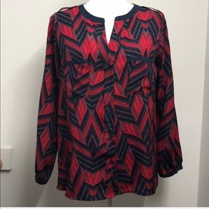 Aqua Red Blue Geometric Design Blouse Size Small